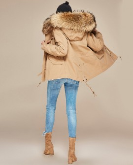 Raccoon Fur Trimmed Hooded Parka with Detachable Rabbit Fur Liner