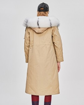 Raccoon Fur Trimmed Hooded Parka with Removable Rabbit Fur Liner