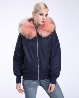 Raccoon Fur Trimming Hooded Bomber Jacket with Detachable Rex Rabbit Fur Liner