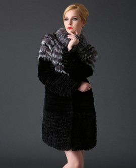 Rex Rabbit Fur Coat with Silver Fox Fur Trim