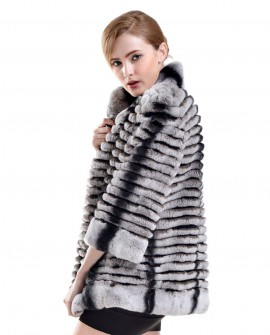 Rex Rabbit Fur Cropped Jacket with Chinchilla Fur Look