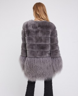Rex Rabbit Fur Jacket with Tibet Sheep Fur Trim
