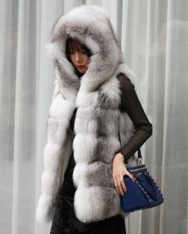 Shadow Blue Frost Fox Fur Hooded Vest