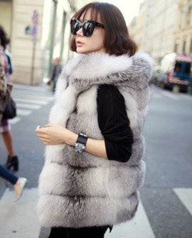 Shadow Blue Frost Fox Fur Vest with Hood