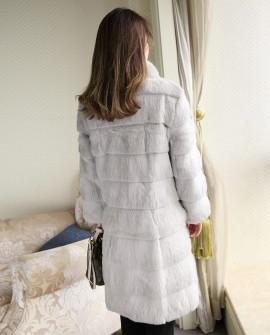 3/4 Length Sheared Rabbit Fur Coat-Grey-S