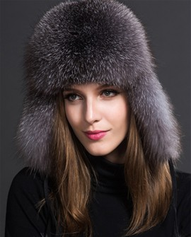 Silver Blue Fox Fur Trapper Hat