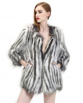 Silver Fox & Raccoon Fur Knitted Jacket