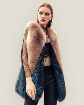 Two-Tone Fox Fur Vest