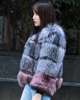 Two-tone Silver Fox Fur Cropped Jacket