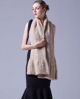 Velvet Mink Fur Knitted Shawl