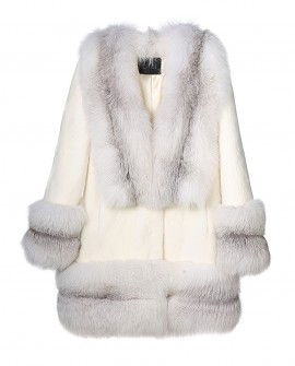White Mink Fur Coat with Shadow Blue Frost Fox Fur Trim