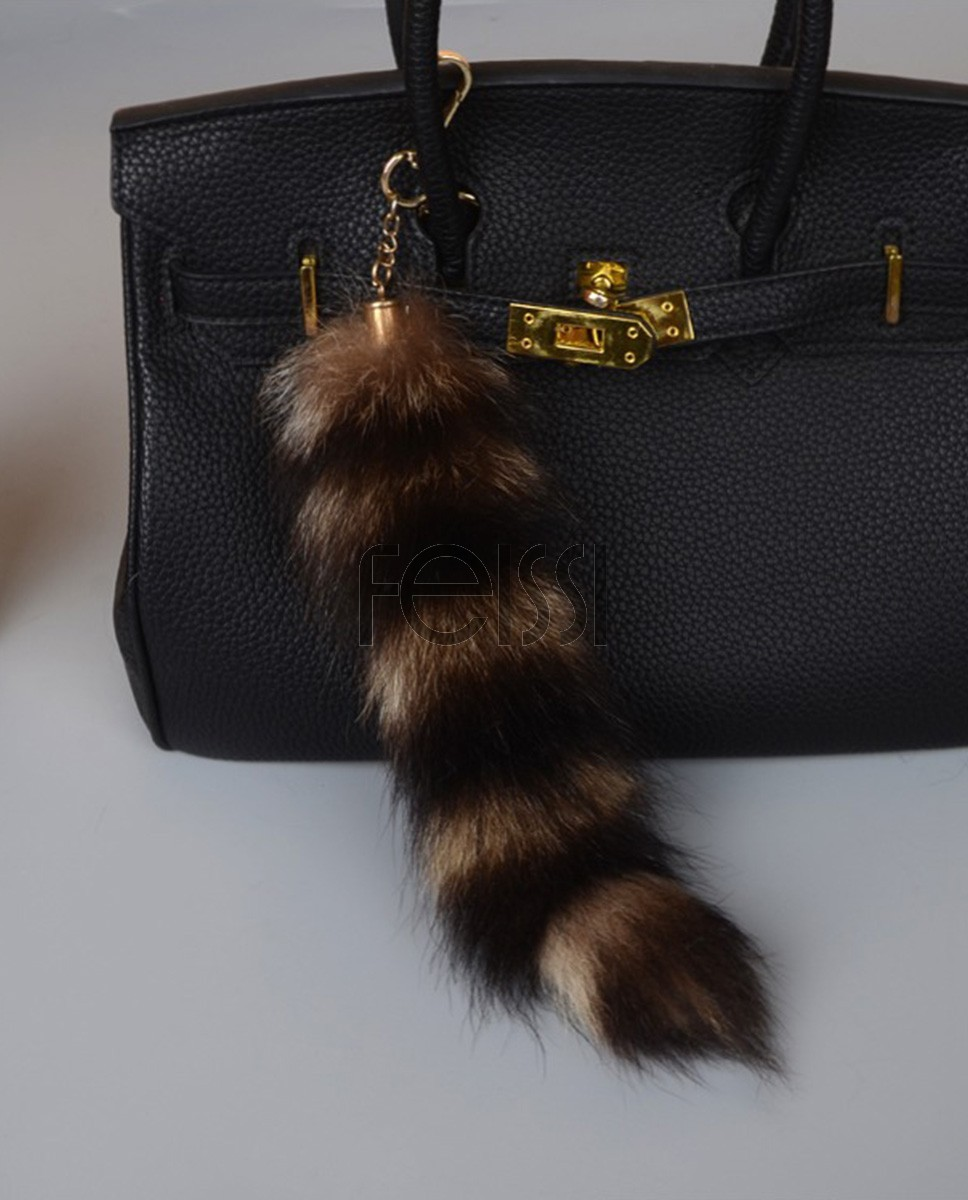 2520eaad6c American Raccoon Fur Tail Pendant Bag Charm