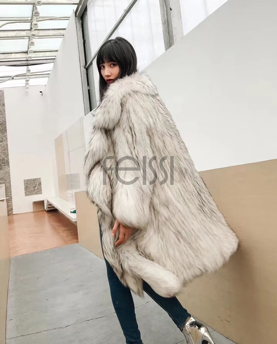 3-4 Length Knitted Raccoon Fur Coat 922e