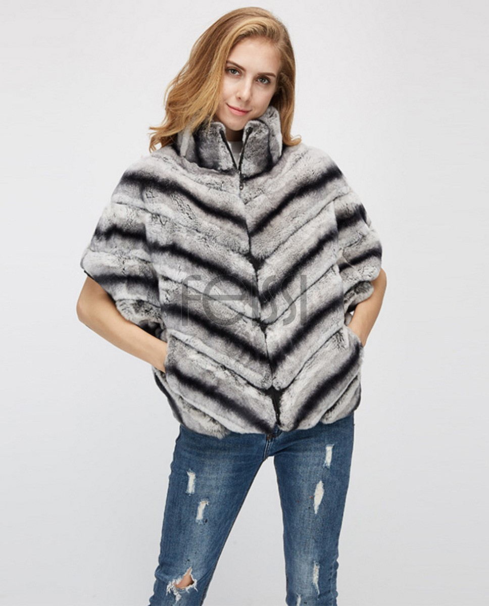 Batwing Rex Rabbit Fur Jacket 953a