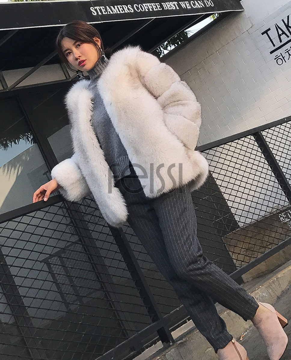 Blue Fox Fur Coat 006a