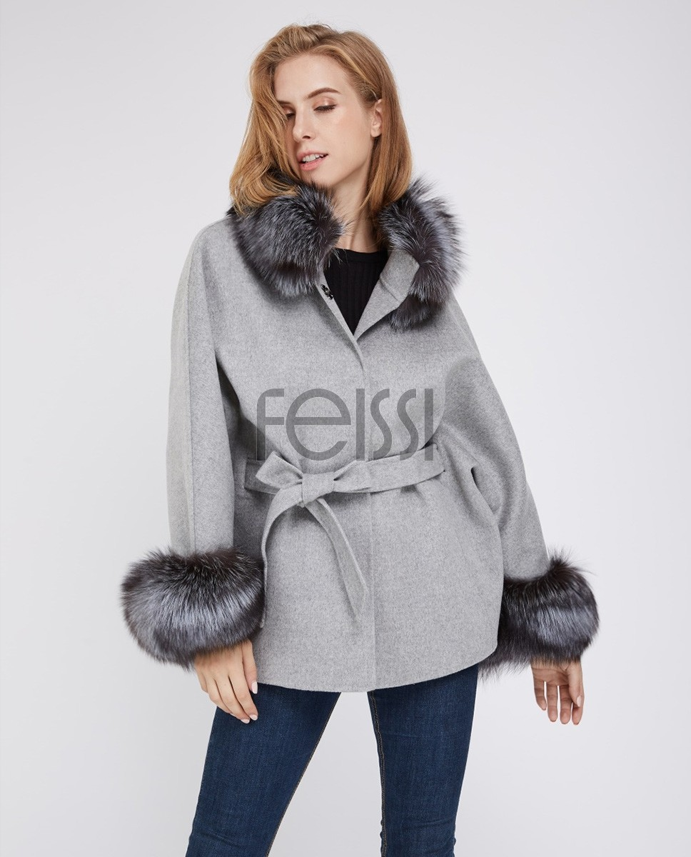 Cashmere Cape Jacket with Silver Fox Fur Trimming 232f