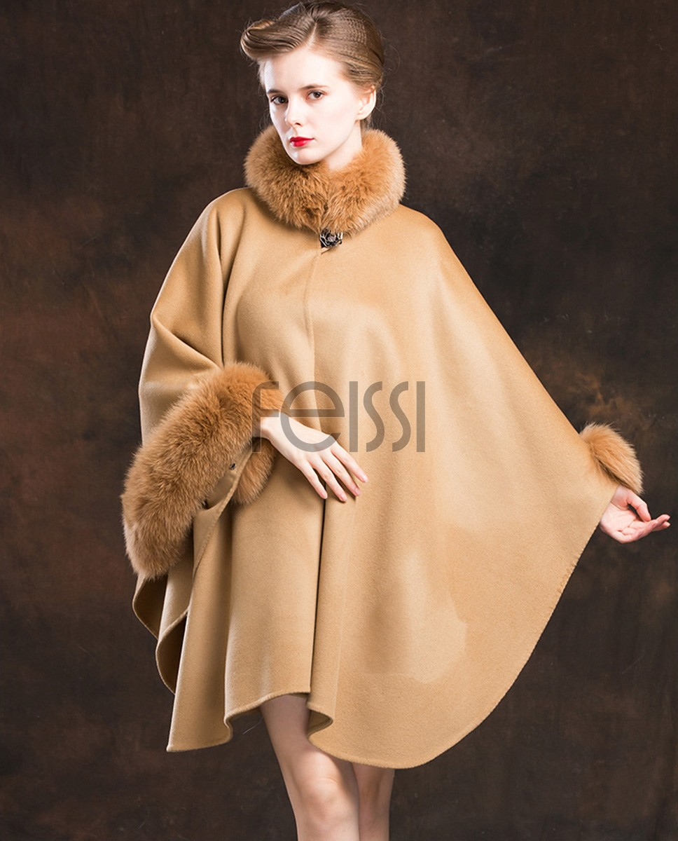 Cashmere Cape with Fox Fur Trim 827b-Camel-1