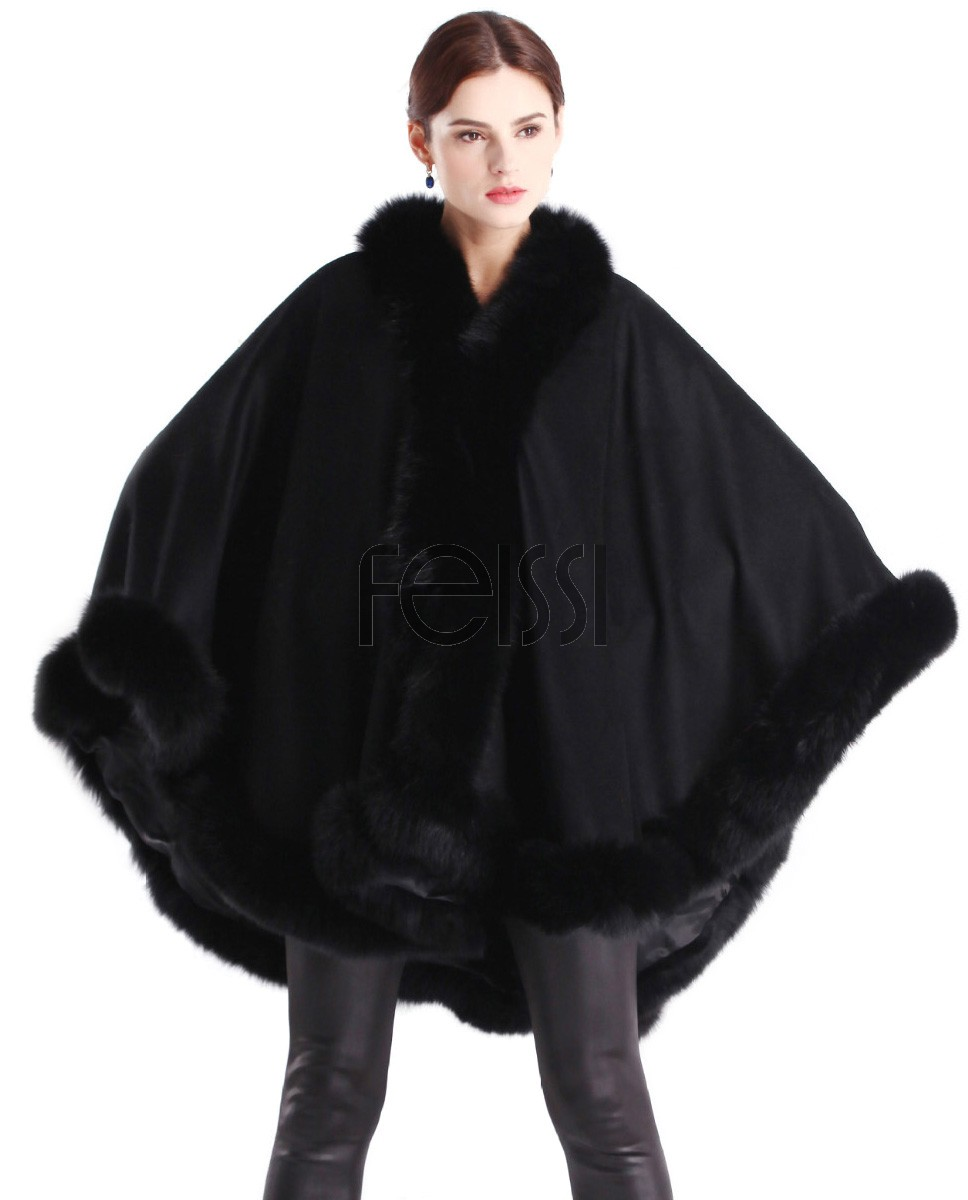 Cashmere Cape with Fox Fur Trim Balck 663-1
