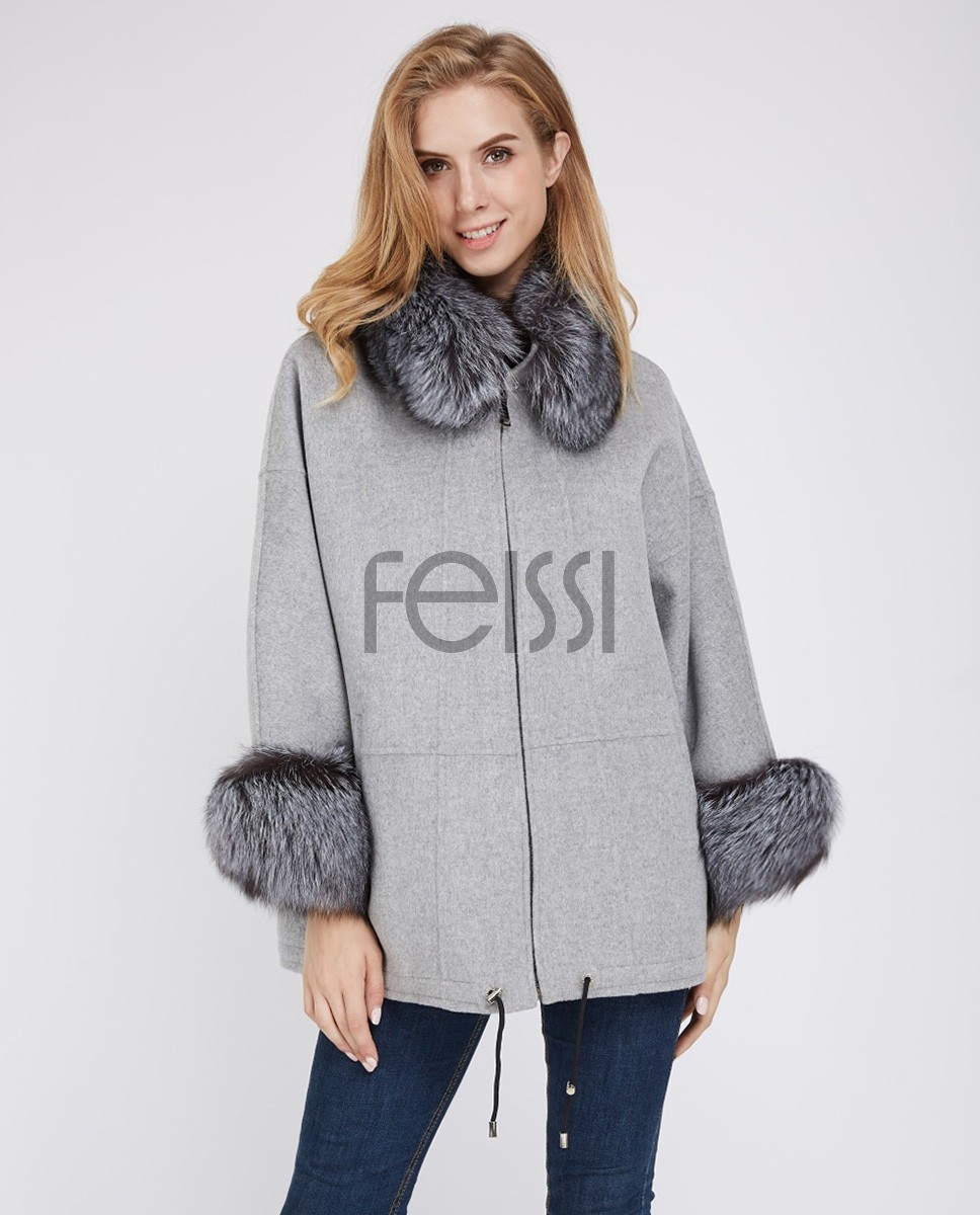 Cashmere Cardigan Cape with Silver Fox Fur Trimming 229a