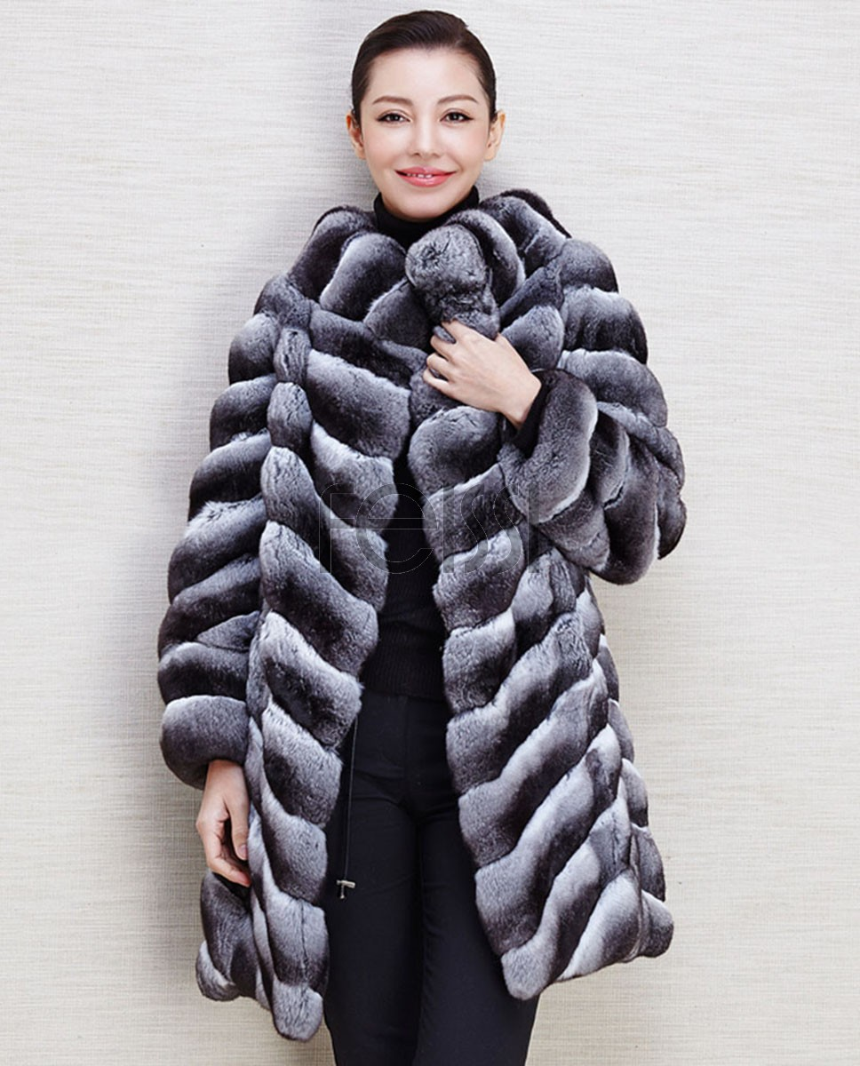 Chinchilla Fur Coat 568a