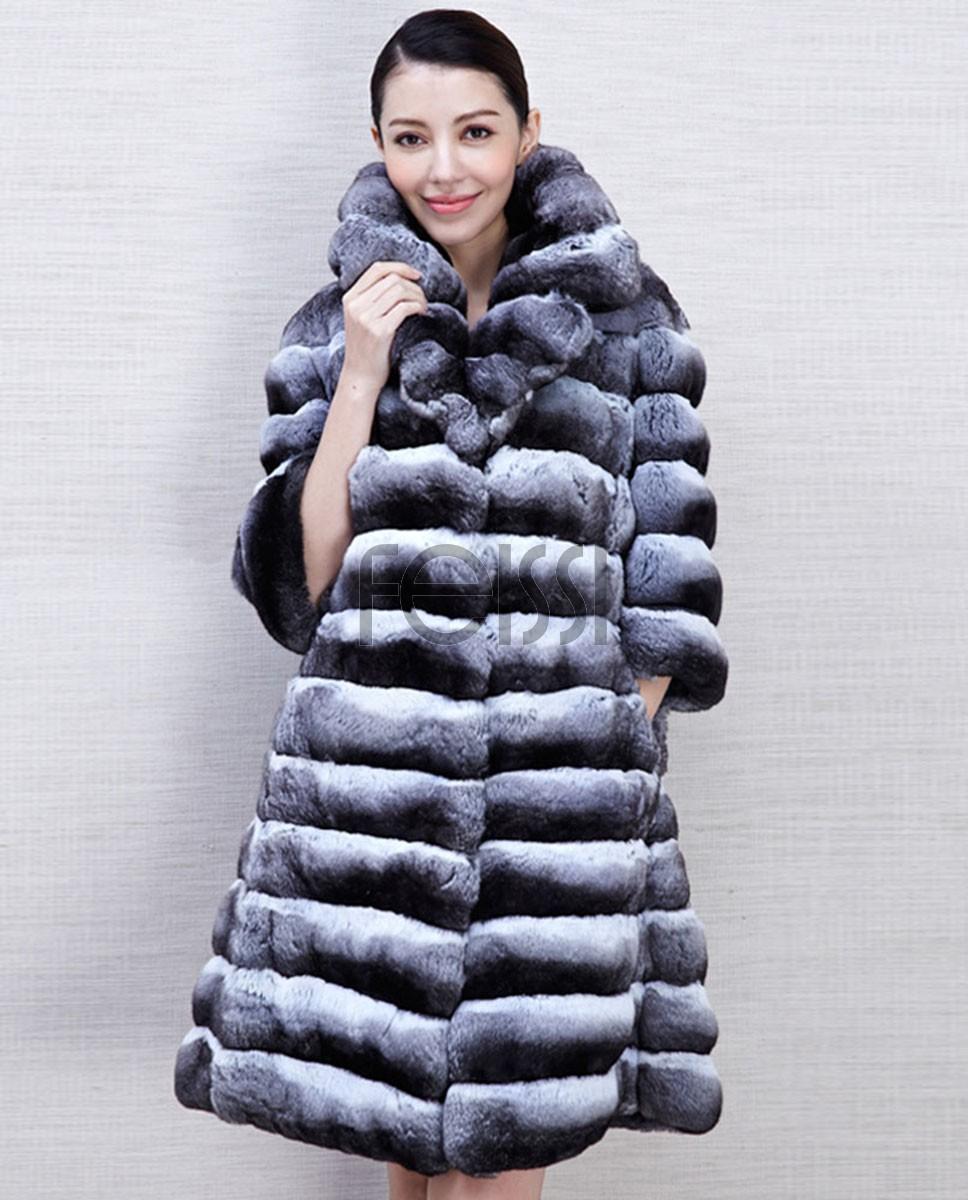 Chinchilla Fur Coat 573a