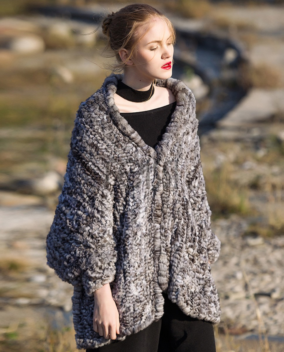 Chinchilla Fur Knitted Cape 045a
