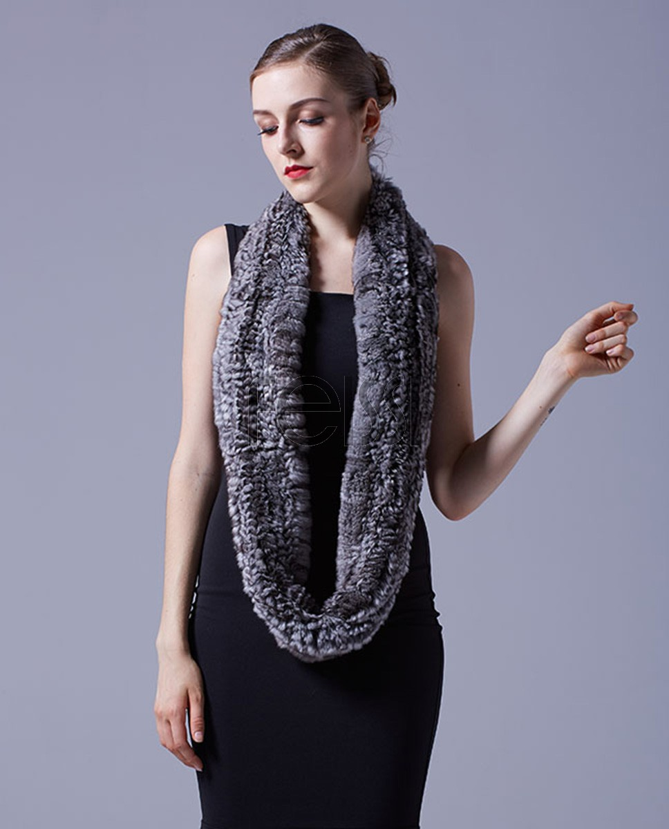 Chinchilla Fur Knitted Wrap 042a