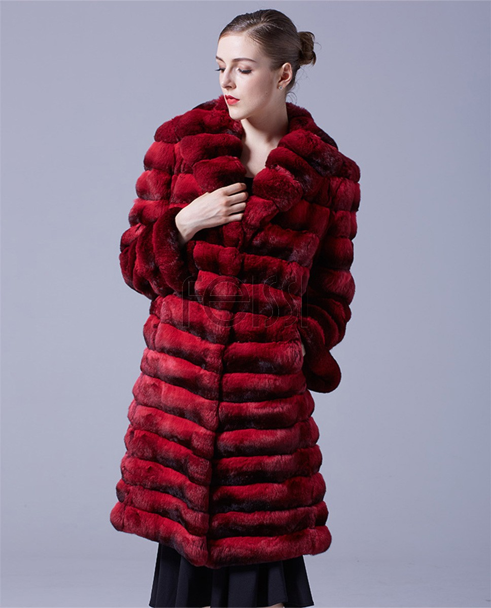 Chinchilla Fur Long Coat 048a
