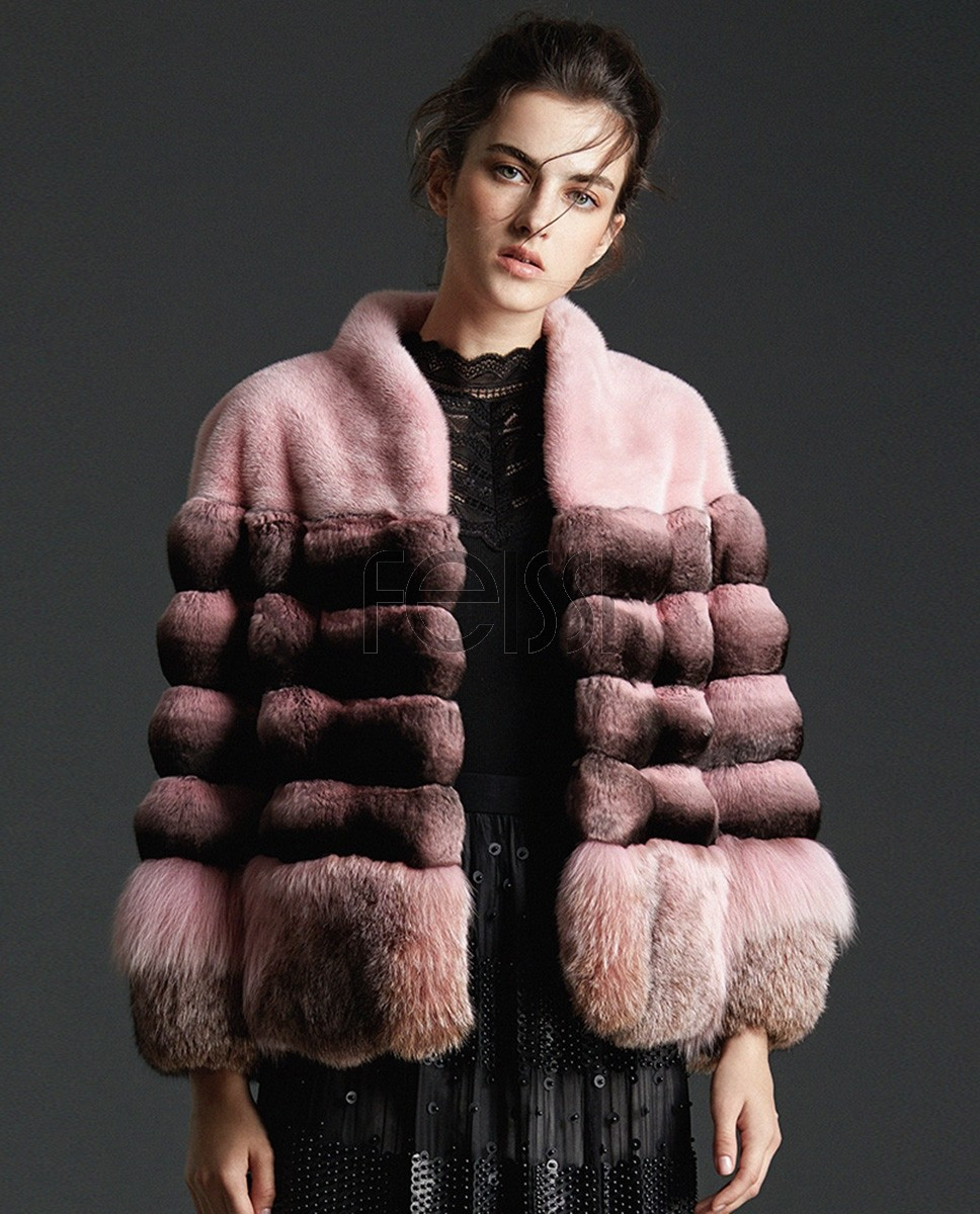 Chinchilla Fur Mink Fur Jacket with Fox Fur Trim 0090a