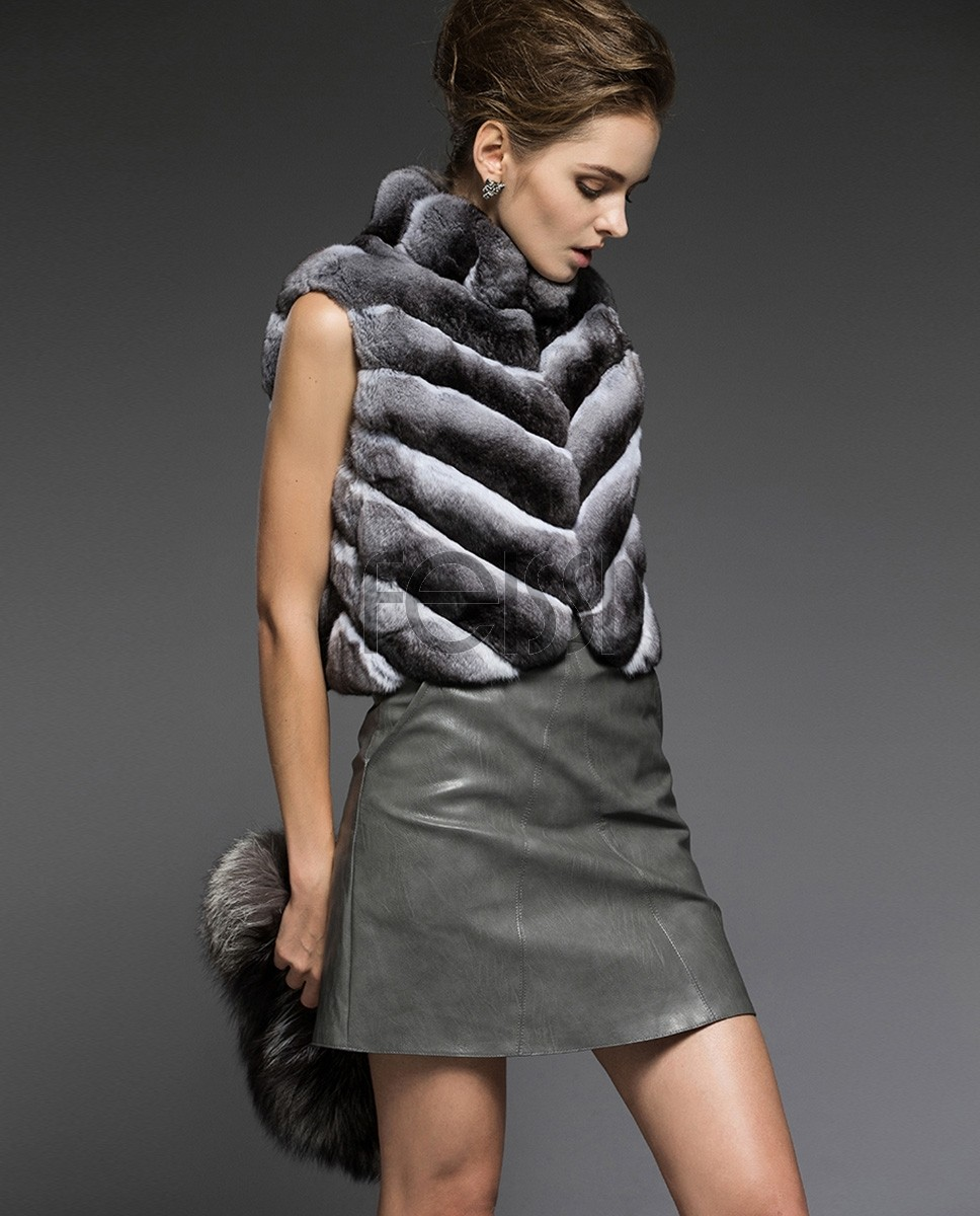 Cropped Chinchilla Fur Vest 171f