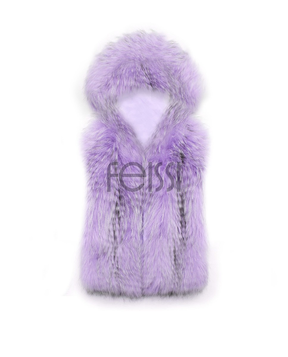 Cropped Raccoon Fur Vest with Hood 0100d