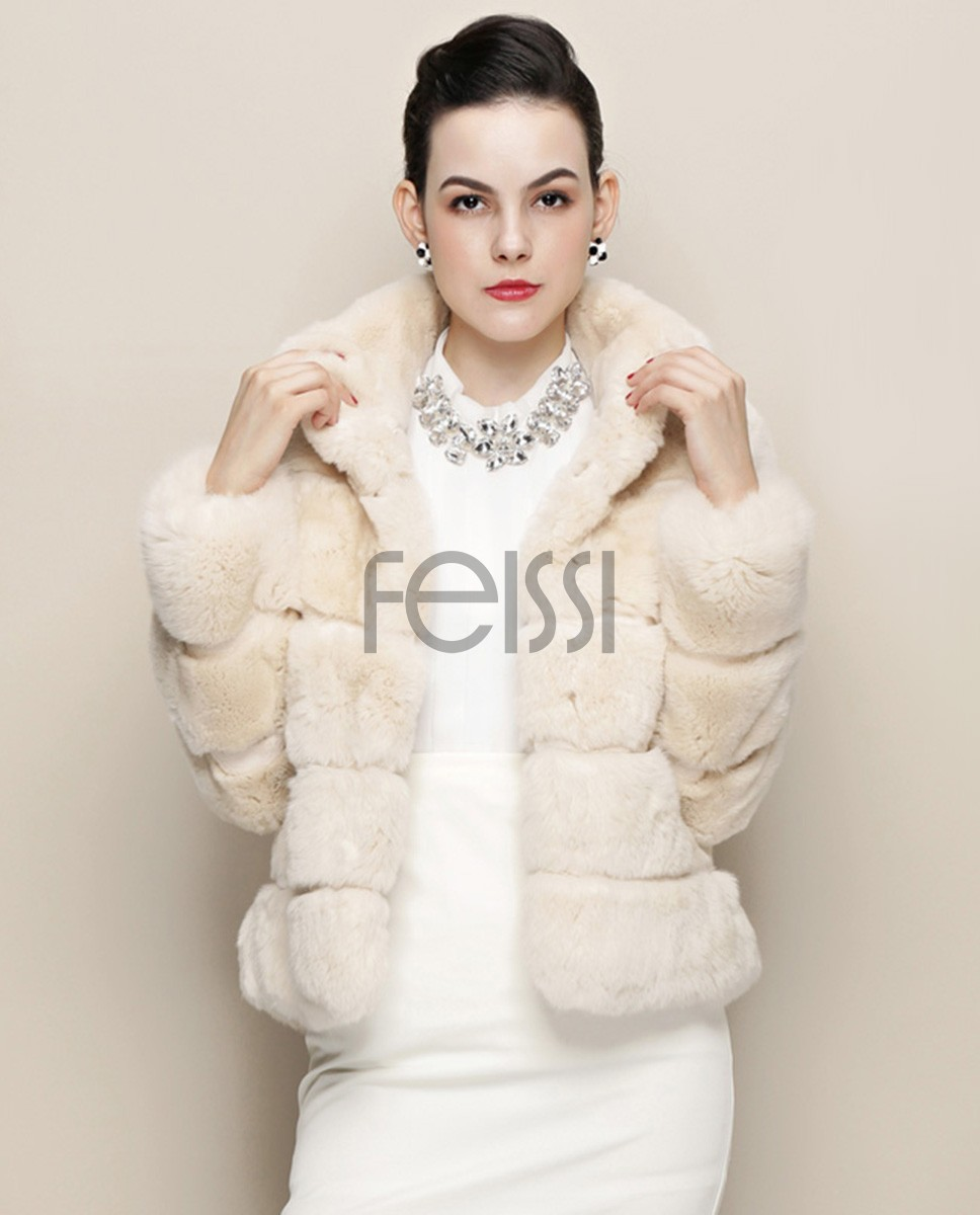 Cropped Rex Rabbit Fur Jacket 761 Beige 1