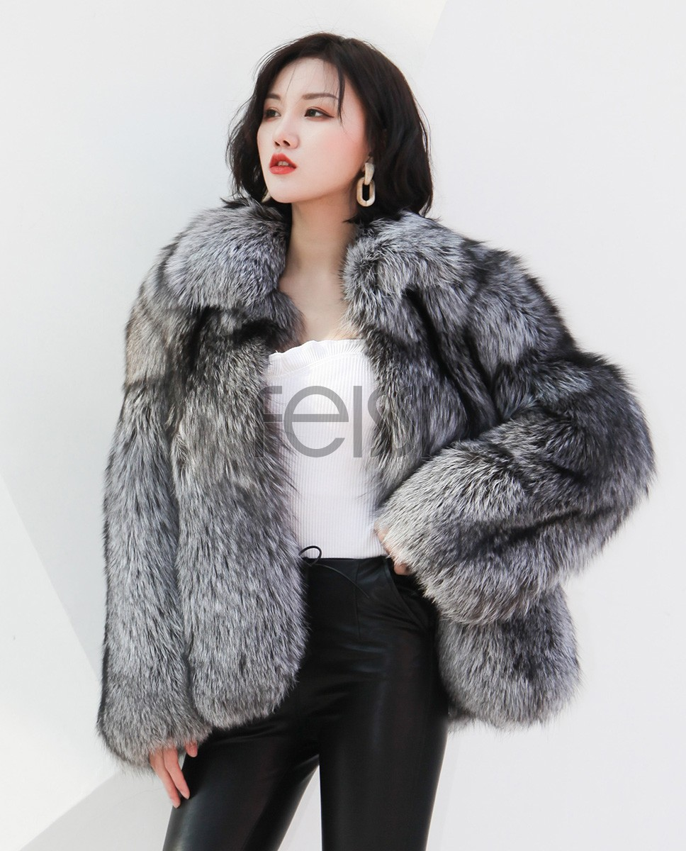 Cropped Silver Fox Fur Jacket 273b