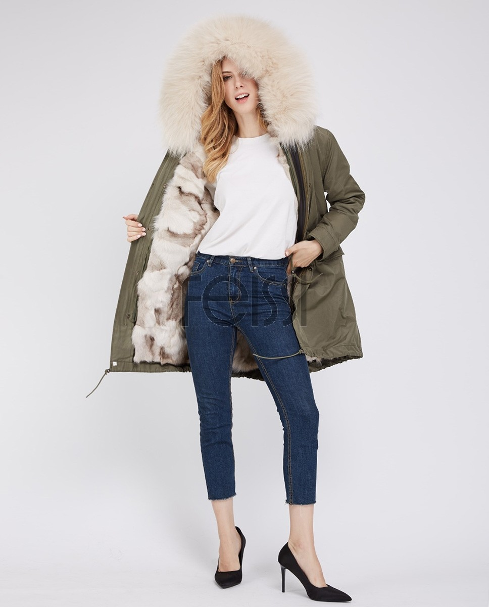 Detachable Fox Fur Liner Parka with Raccoon Fur Trimmed Hood 251a