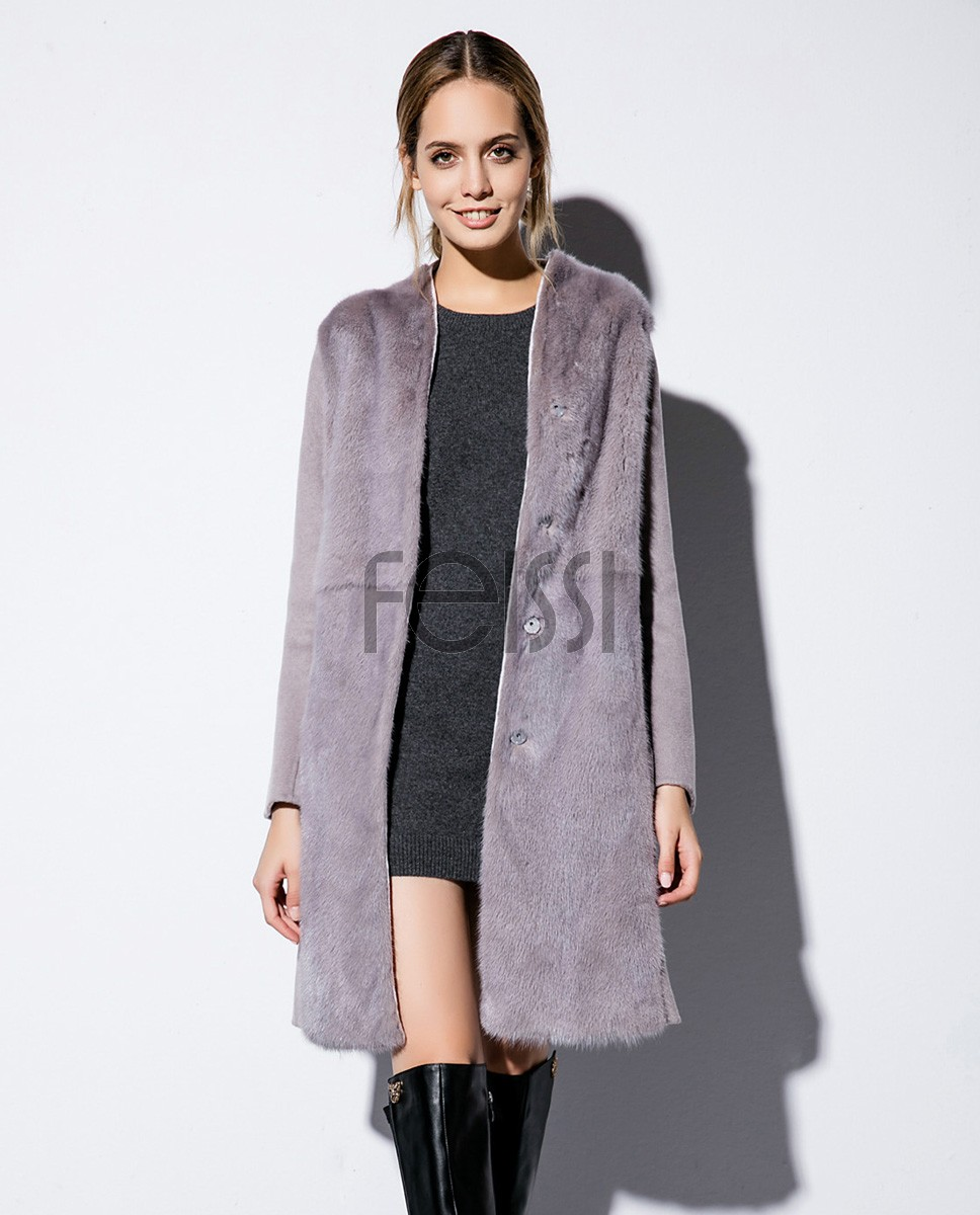 Double-faced Woolen Jacket with Mink Fur Trim 709 Gray 1