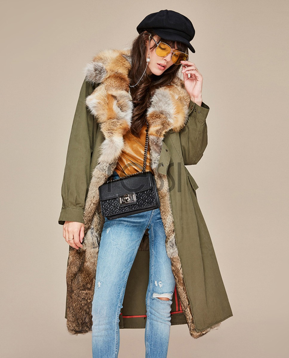 Fox Fur Collar Trench Coat with Rabbit Fur Trim 120a