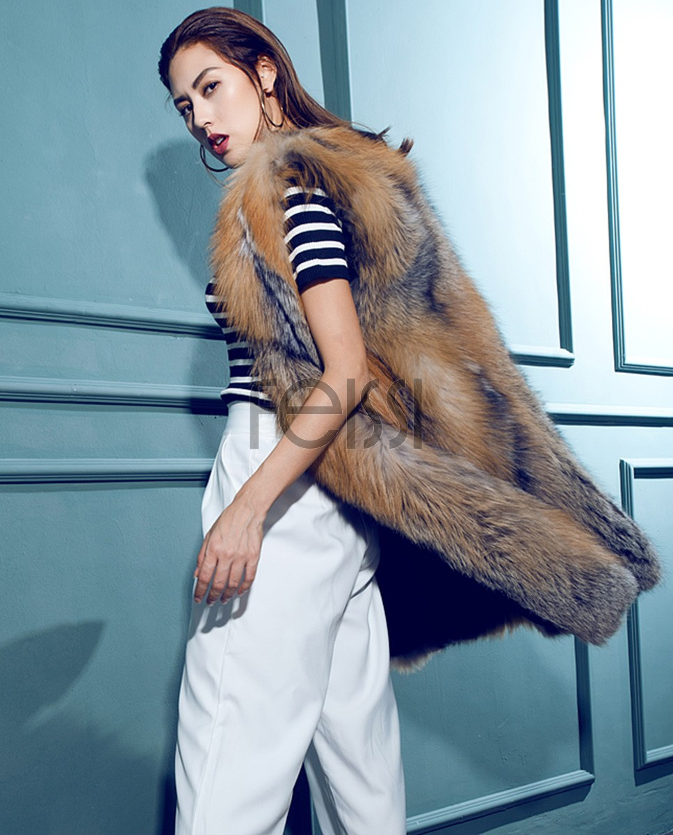 Fox Fur Long Vest 078a