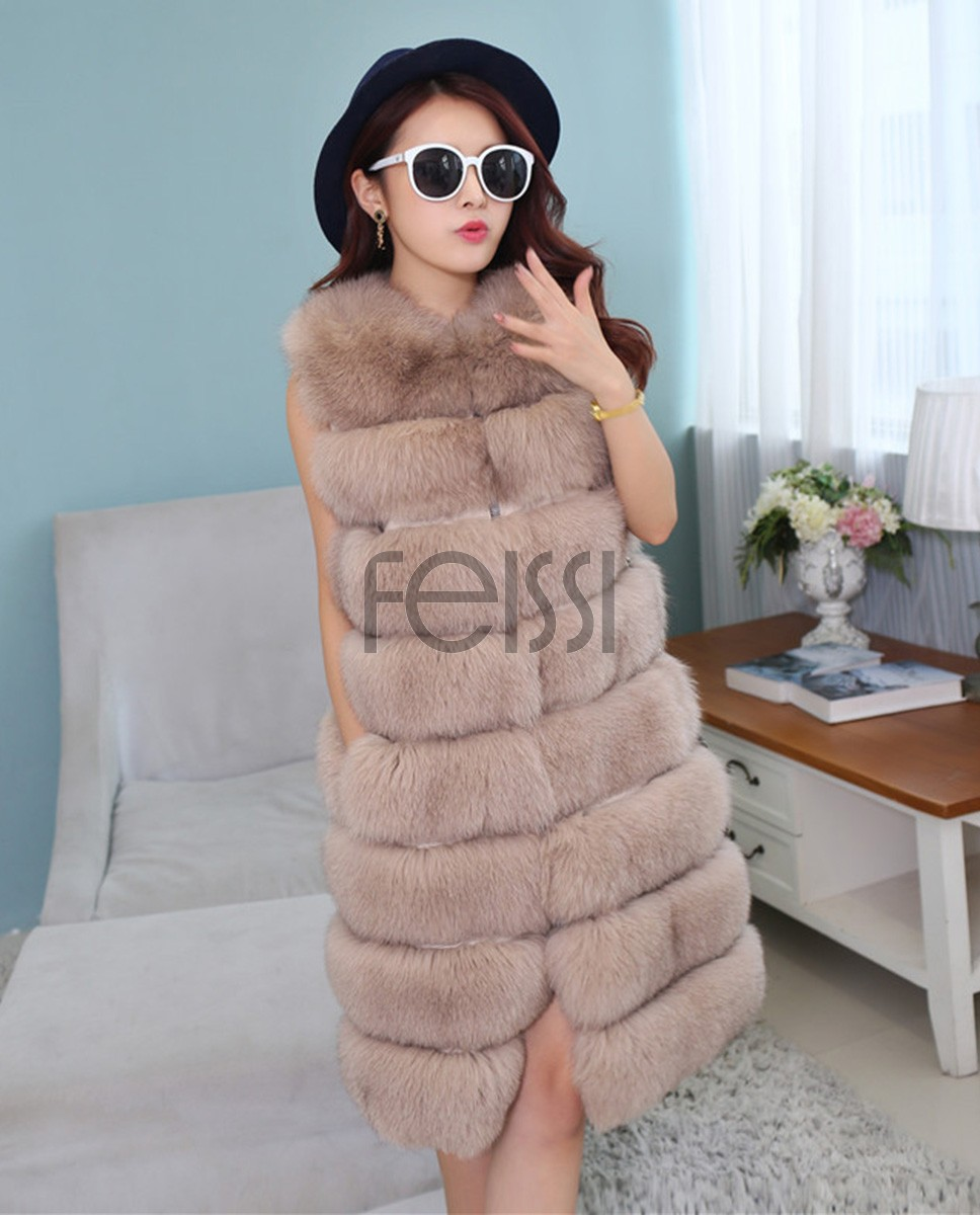 Fox Fur Long Vest 809a