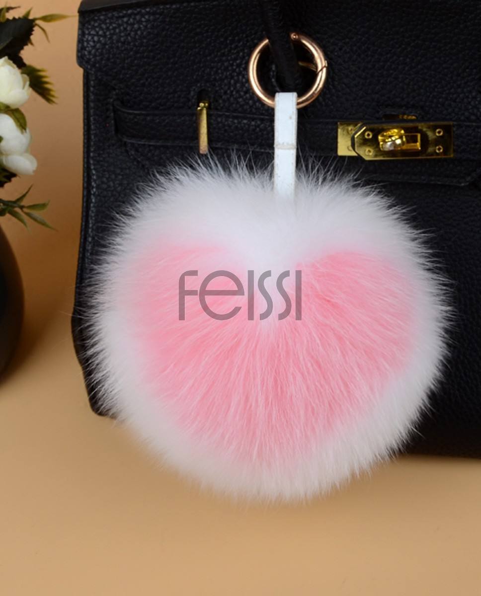 Fox Fur Pompoms Pendant Bag Charm 895a