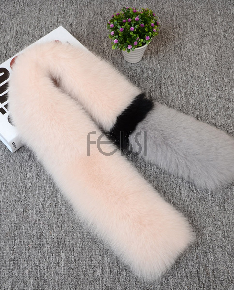 Fox Fur Scarf 830 Beige-Gray 1