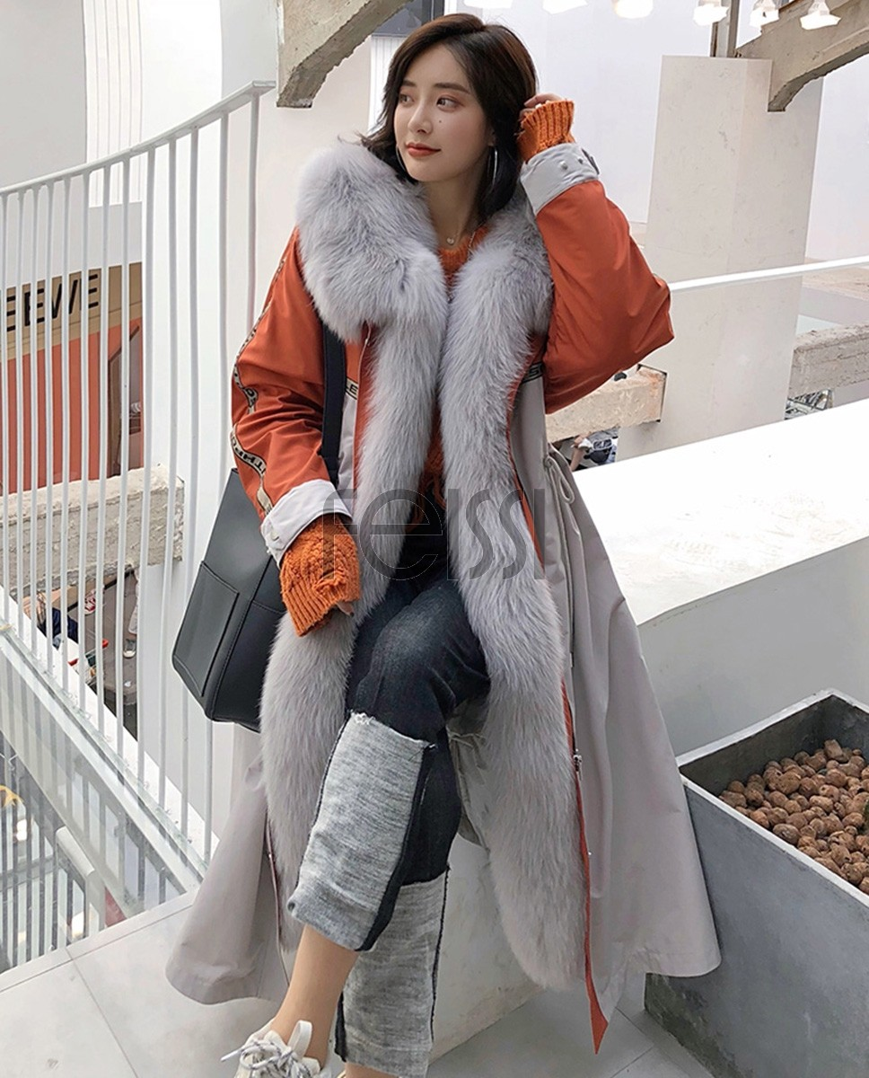 Fox Fur Trim Long Parka with Down-Filled Liner 282a