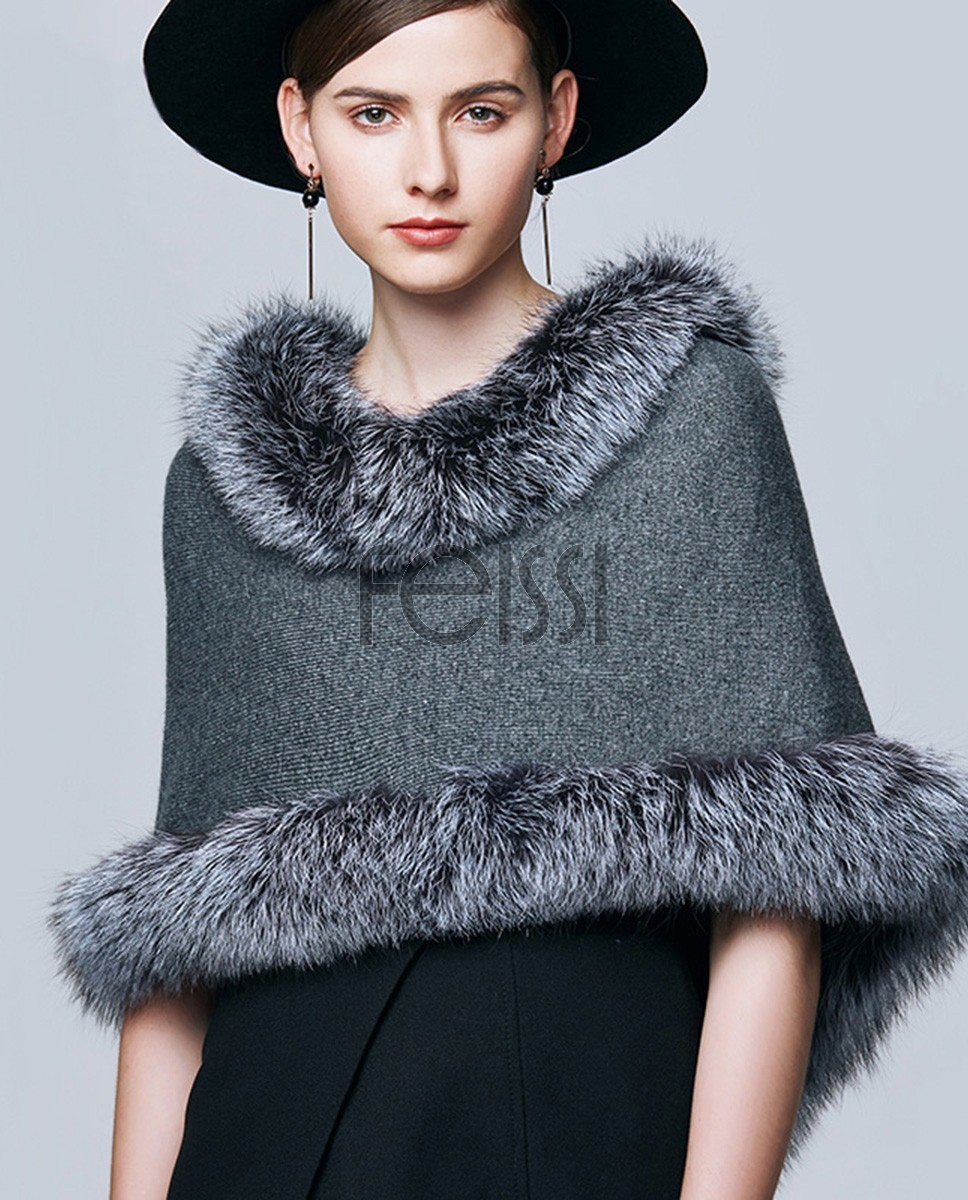 Fox Fur Trimmed Capelet 332a