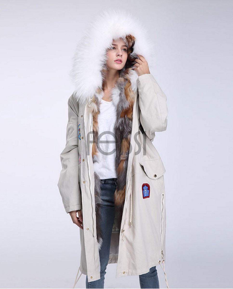Fox Fur Trimmed Hooded Parka with Detachable Down-filled Liner 840a