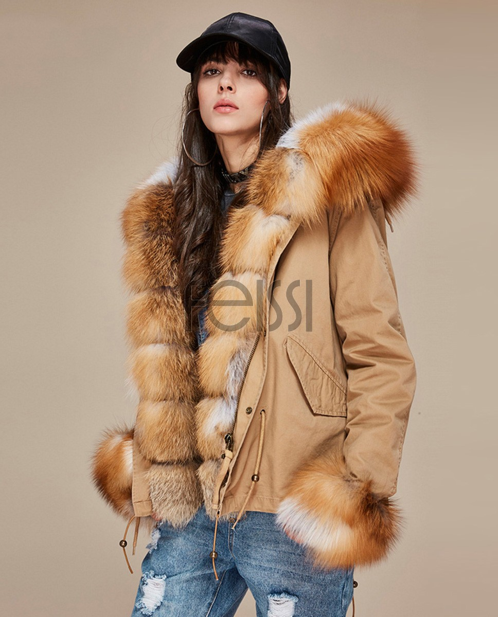 Fox Fur Trimmed Hooded Parka with Detachable Rex Rabbit Fur Liner 114a