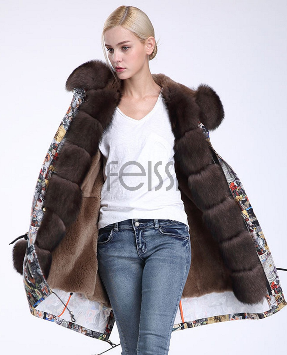 Fox Fur Trimmed Hooded Parka with Detachable Rex Rabbit Fur Liner 976a