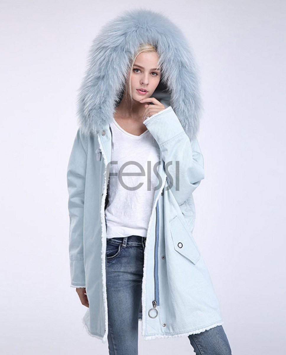 Fox Fur Trimming Hooded Parka with Detachable Rex Rabbit Fur Liner 937a