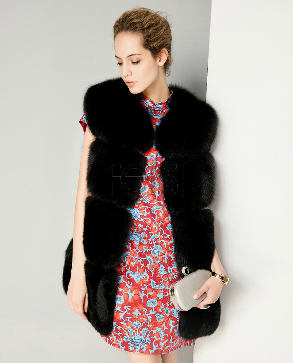 Fox Fur Vest 714 Black 1