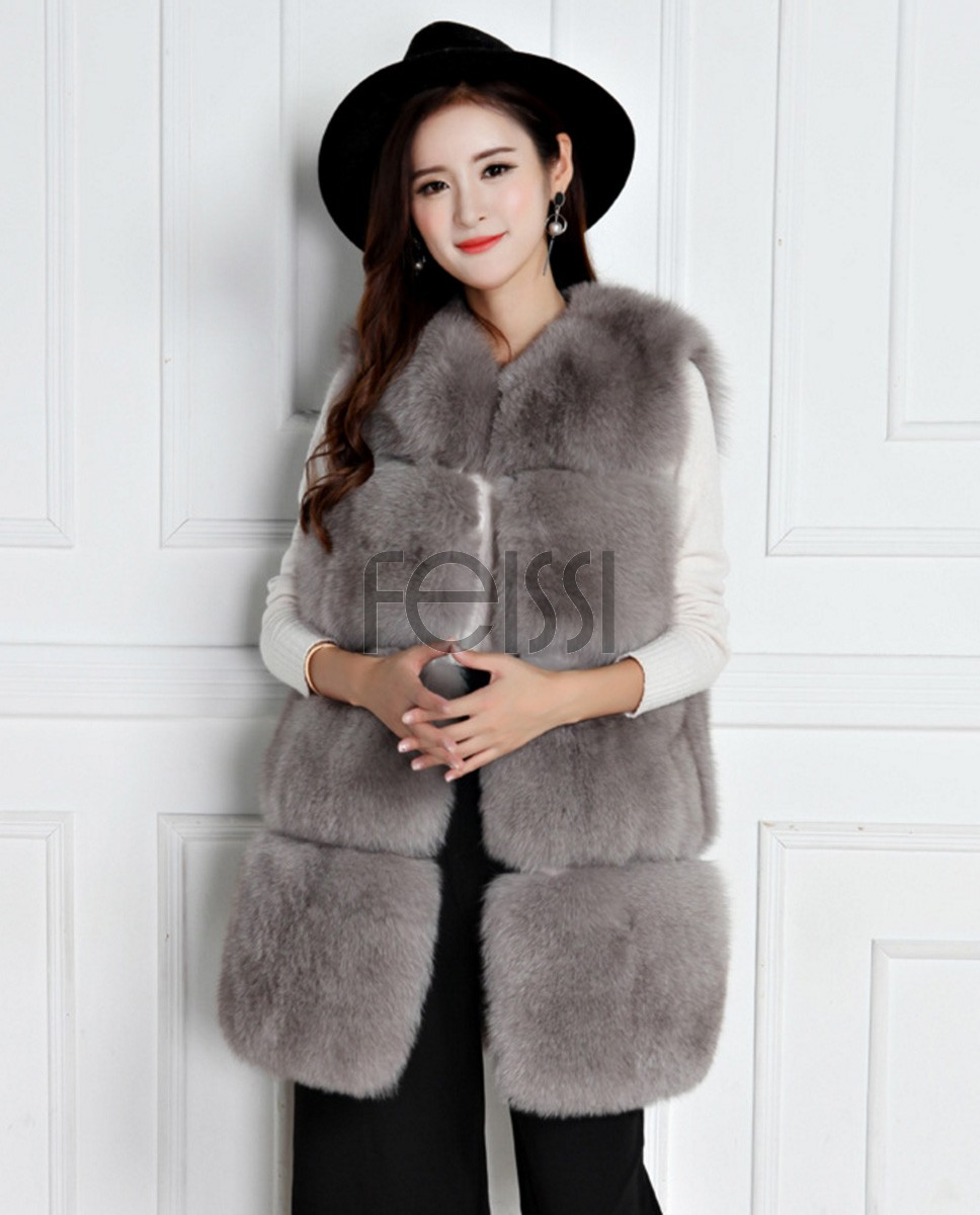 Fox Fur Vest 795 Gray 1