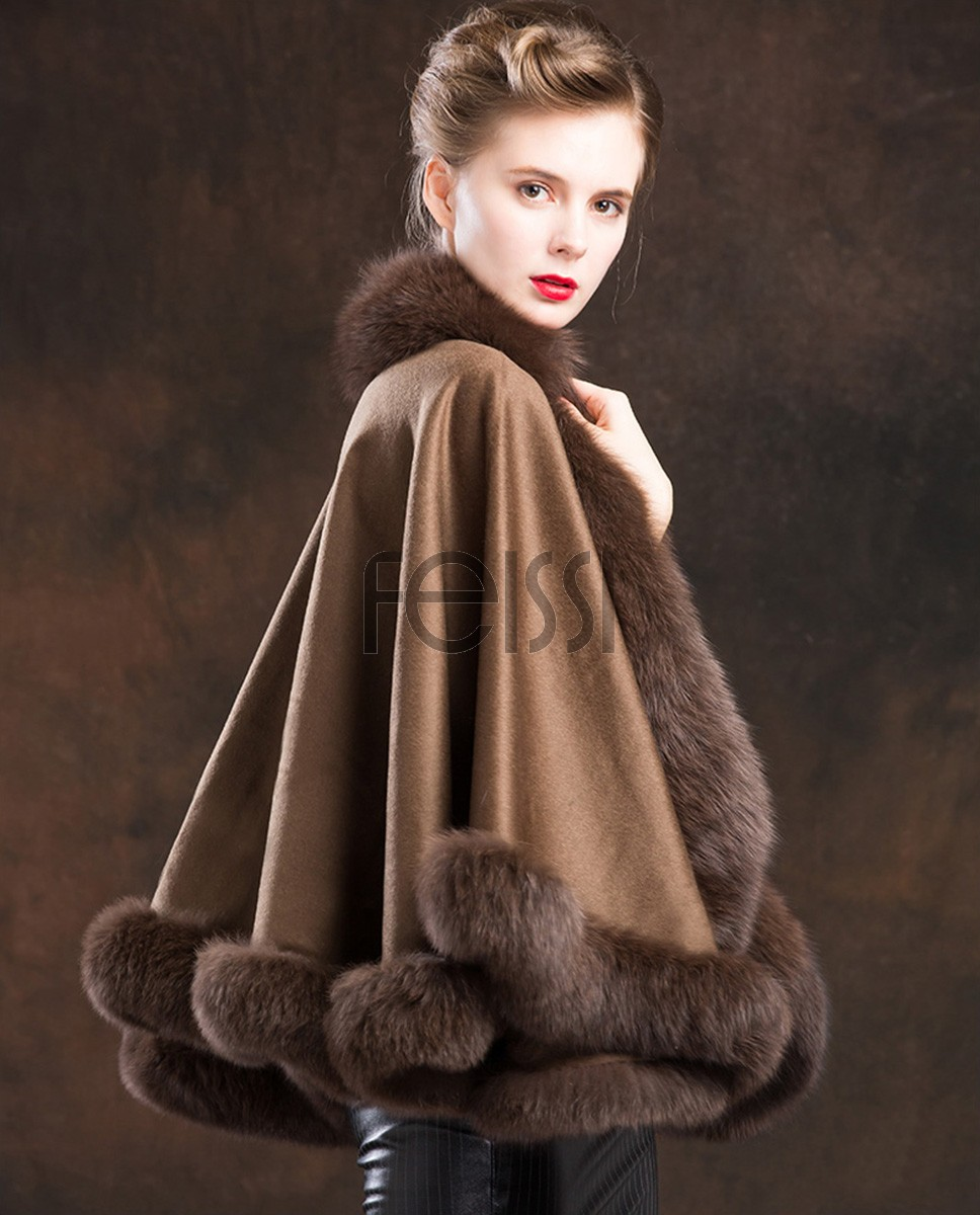 Fox Trimmed Cashmere Cape 138-Coffee-a