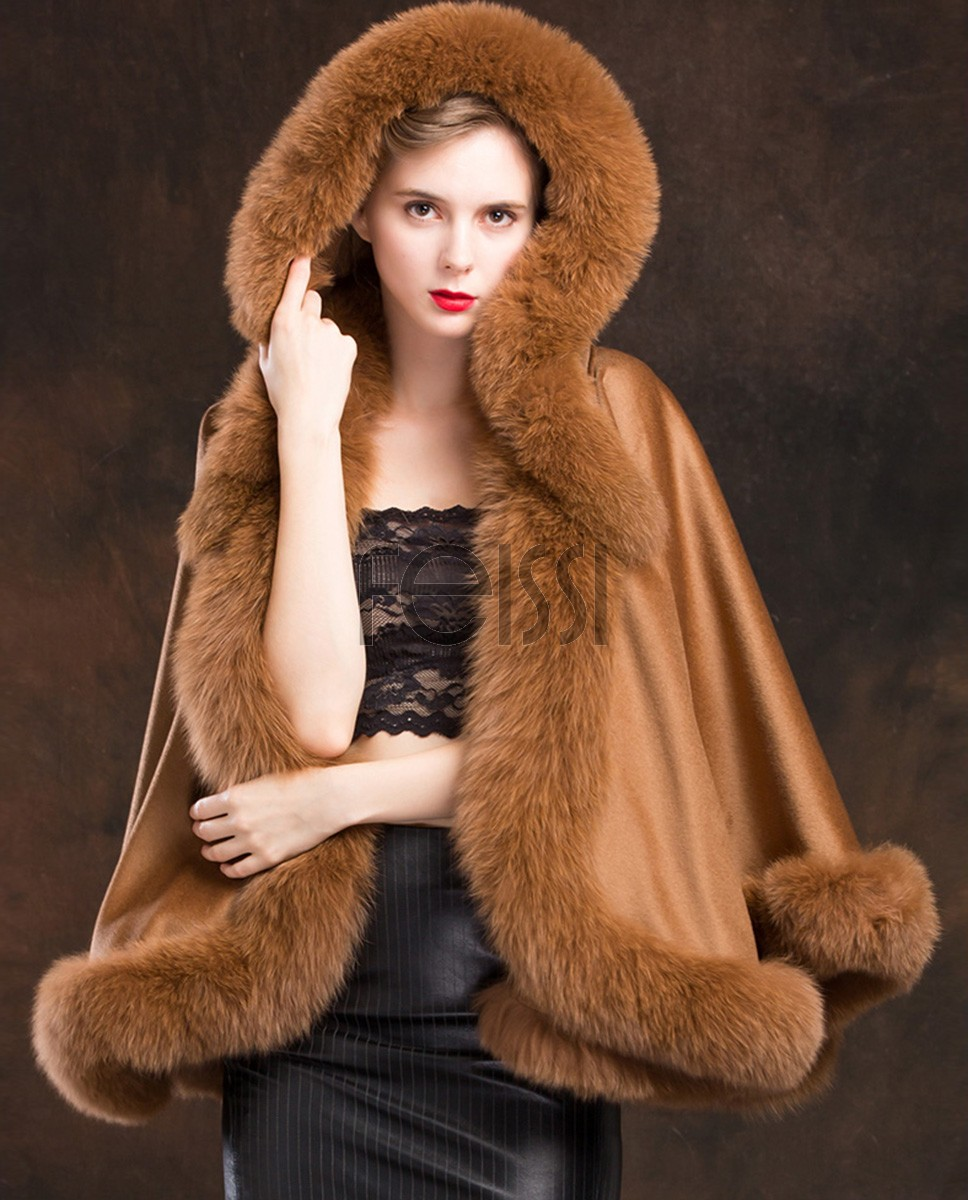 Fox Trimmed Cashmere Cape with Hood 137a